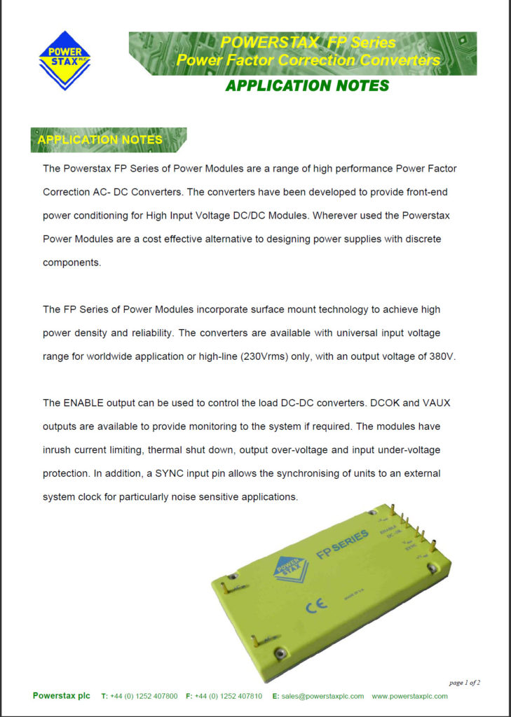 Click here for Powerstax FP Series datasheet